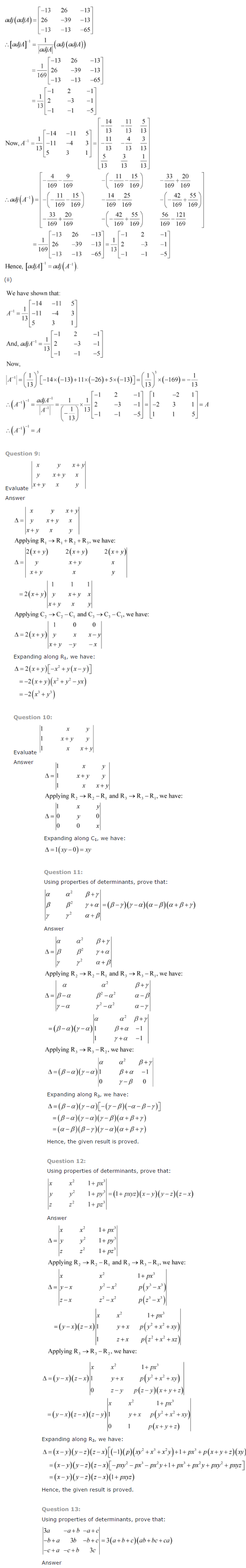 NCERT Solutions for Class 12 Maths Chapter 4 Determinants ex 4.16