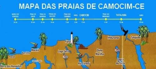 Mapa Praias do Camocim Ceara no Litoral Oeste
