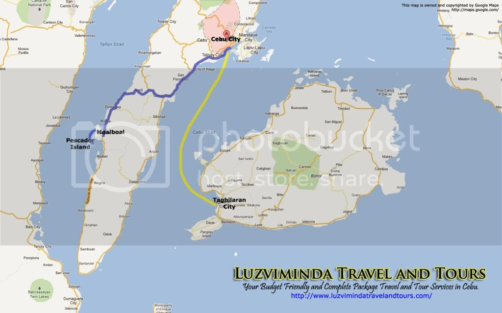 Cebu City + Pescador Island Hopping + Bohol Countryside Day Tour Itinerary Package Route