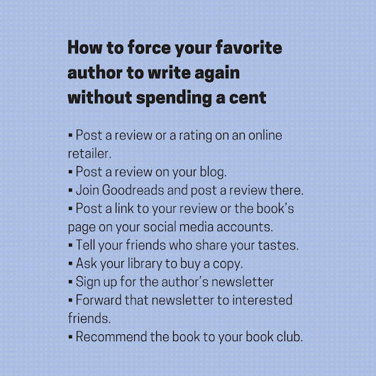 How to force your favorite author to write the next book