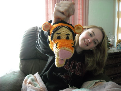 My sister with her new Tigger Head