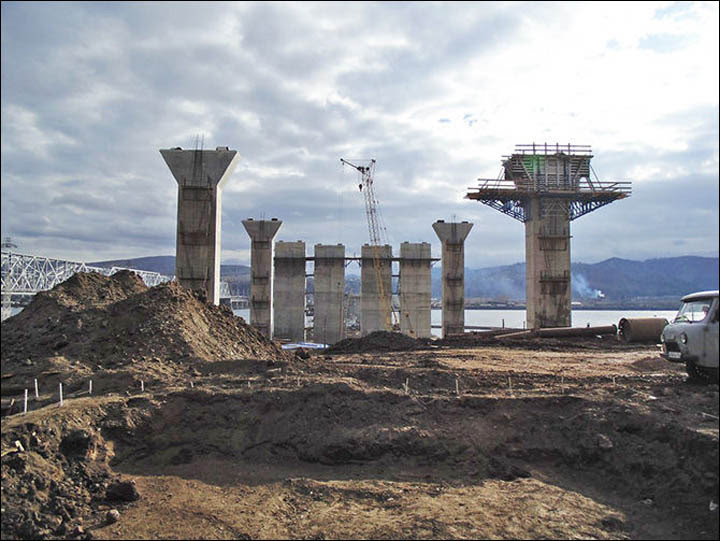 Krasnoyarsk view on the fourth bridge