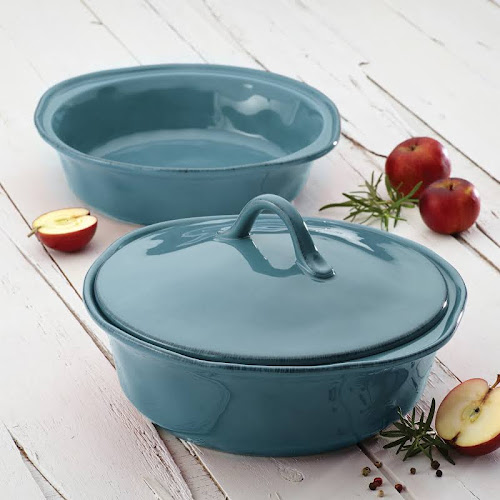 Rachael Ray Cucina Round Casserole Set, Agave Blue - 3 count