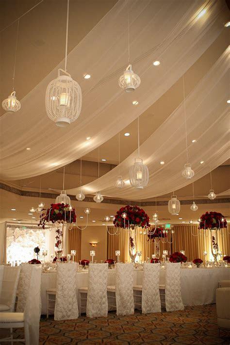 Ballroom turned into an elegant wedding reception using