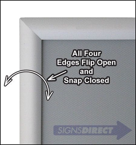 85x11 Snap Open Quick Change Sign Frames Silver Aluminum