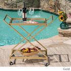 Christopher Knight Home Annika Outdoor Industrial Bar Cart by, Gold