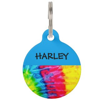 Hippie Tie Dye Personalized Pet Tag
