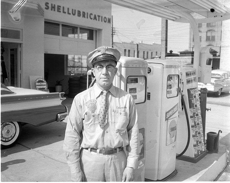 Gas Stations used to be                   called service stations ... they would rush to your                   car, check the water and oil, put air in your tires,                   wash your windows, and pump your gas.