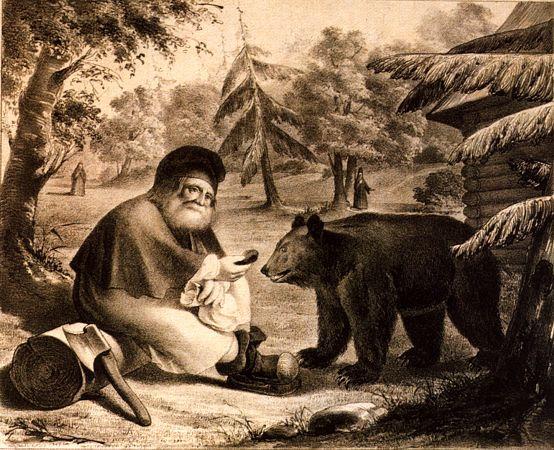 Преподобный Серафим Саровский кормит медведя