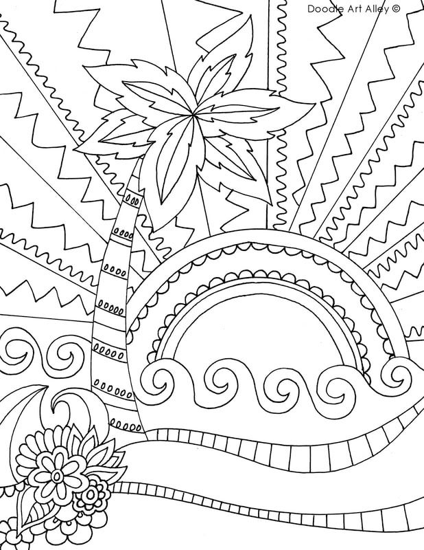 Beach Coloring pages - Doodle Art Alley