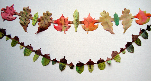 paper  leaves and acorns