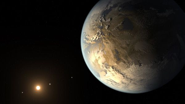 An artist's concept of the exoplanet Kepler-186f.
