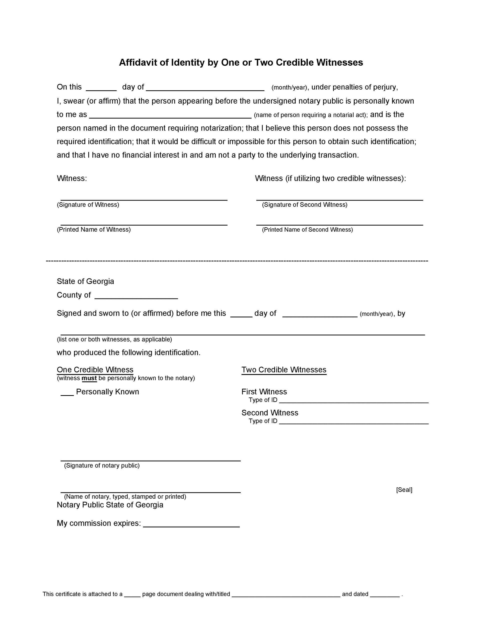 Affidavit Of Testimony Sample  Master of Template Document