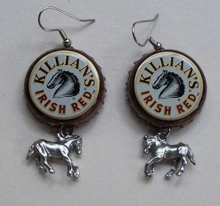 SALE- Horse Lover Bottle Cap Earrings