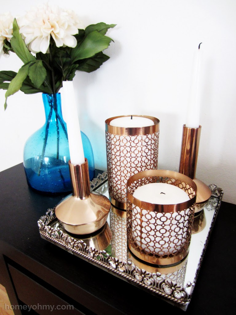 Candle holders in vanity tray