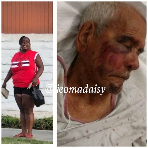 30-YEAR-old woman has been arrested after allegedly beating a 92-year-old granddad with a BRICK in a...
