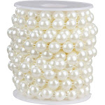 Pearl Garland - Half-Round Pearl Bead Trim Spool for DIY Crafts, 10mm in Diameter, 10 Yards