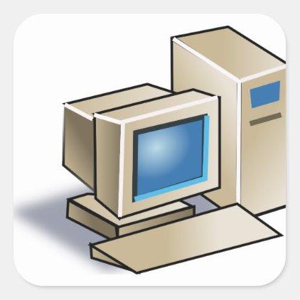 Retro Computer Square Sticker