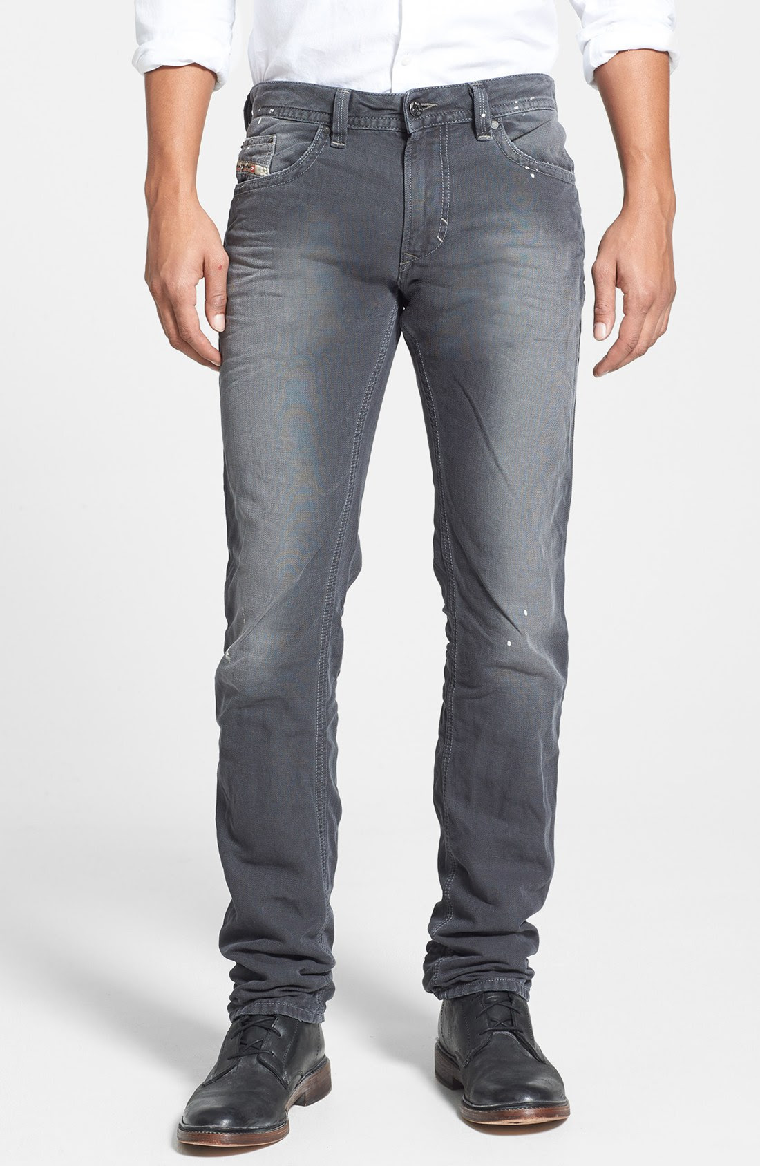 diesel thavar skinny fit jeans in gray for men dark grey
