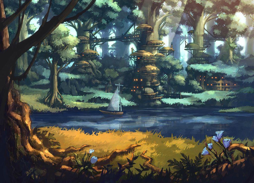 ファンタジー イラスト 森に棲む者達の住まい幻想 画像集