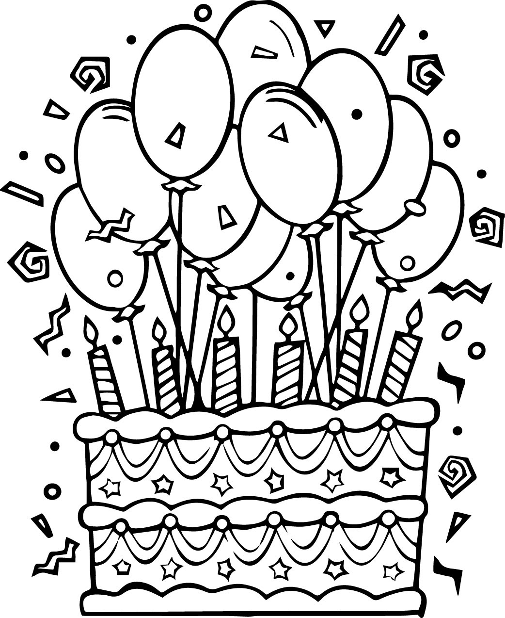 Birthday Cake Coloring Pages | Wecoloringpage.com