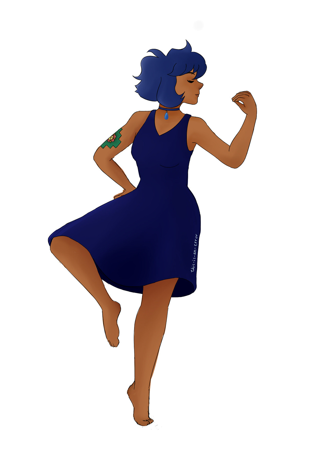 I drew a human lapis lazuli (peruvian lapis), I actually love how it turned out. Her tattoo is a chacana.