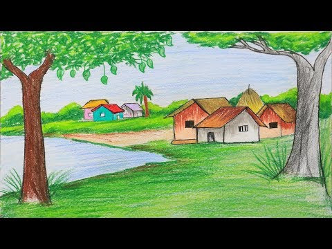 How To Draw Scenery Of Summer Season Step By Step Very Easy