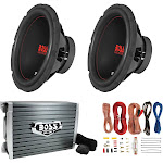 """Boss Chaos Exxtreme 10"""" 1000W DVC 4 Ohm Subwoofer (Pair) w/ Amplifier & Wiring by VM Express"""