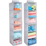 "mDesign 6 Shelf Fabric Kids Hanging Closet Nursery Organizer in Gray/White, 11.75"" x 11.75"" x 50"""