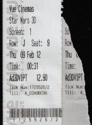 Phantom Menace 3D: Midnight showing! Well, 00:31, but the point still stands...