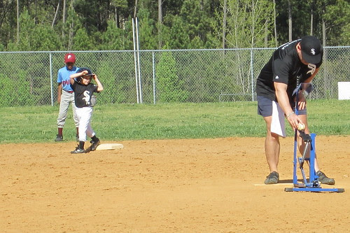 on the bag at second