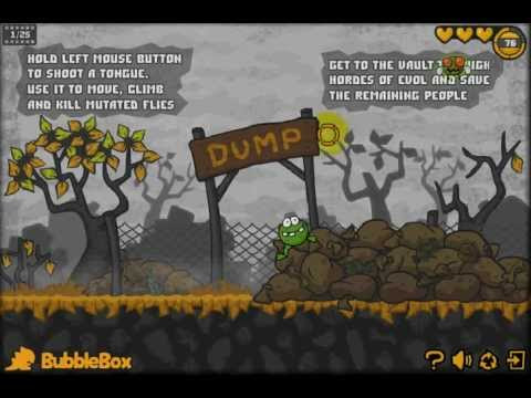 วีดีโอตัวอย่างการเล่นเกมส์กบเขียวจอมเขมือบ Frogout