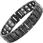 Powerful Magnetic Therapy Bracelet Black Stainless Steel Chain