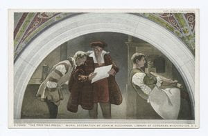 Printing Press, Mural, Library... Digital ID: 73810. New York Public Library