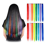 Feshfen 16 Pcs 8 Colors Straight Clip On In Hair Extensions Hairpieces 20 Inches Long Remy Hair Colored Party Highlights Hair Accessories Diy Hair