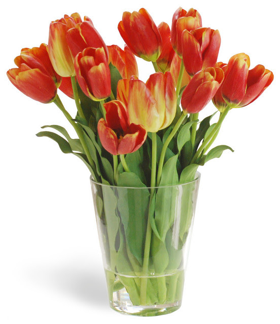 Tulip In Glass Flower Arrangement, Yellow\/Red  Traditional  Artificial Flowers Plants And
