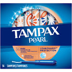 Tampax Pearl Super Plus Plastic Tampons, Unscented - 36 count