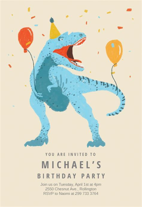 Dinosaur fiesta   Free Birthday Invitation Template