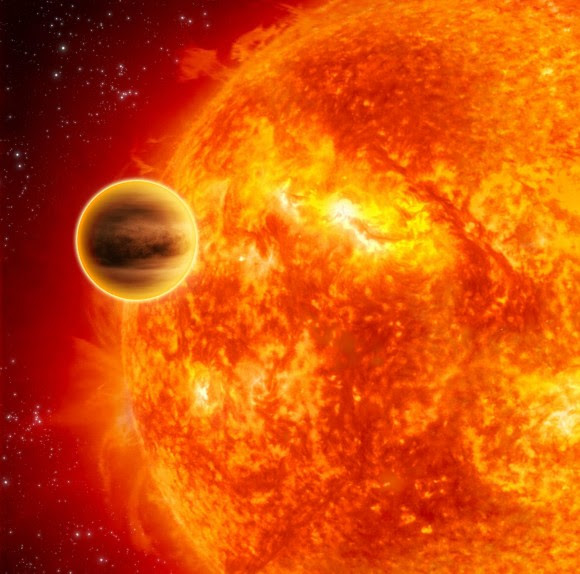 An exoplanet transiting across the face of its star, demonstrating one of the methods used to find planets beyond our solar system. Credit: ESA/C. Carreau