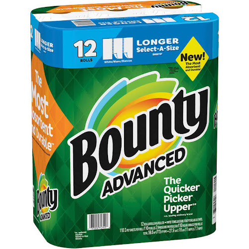 Bounty Select-A-Size Paper Towels, White, 12 Rolls
