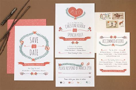 Mid Century Style Wedding Invitations by Love vs. Design