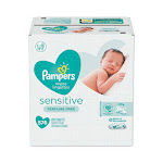 Sensitive Baby Wipes, White, Cotton, Unscented, 72/Pack, 8 Packs/Carton 88529CT