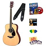 Yamaha FG720S Natural Folk Acoustic Guitar Bundle with Instructional DVD, Picks, Strap, Strings, Pick Card, and...