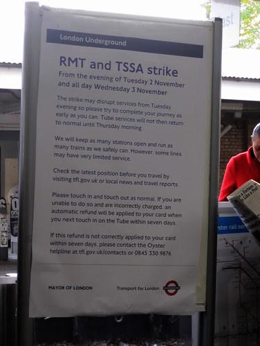 RMT & TSSA Tube Strike Notice - Kew Gardens Station