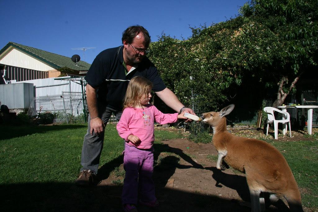 Chloe and Tony with kangaroo