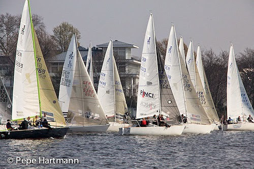 J/24s starting on Alster Lake, Hamburg, Germany- sailing regatta