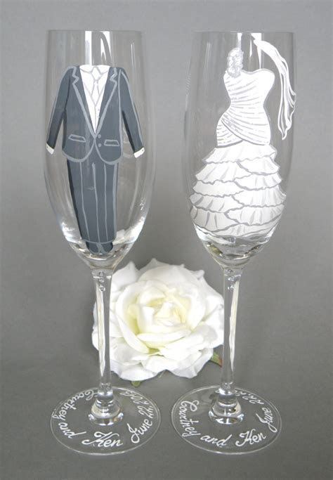 Hand painted Bride and Groom bridal shower party glasses Wine