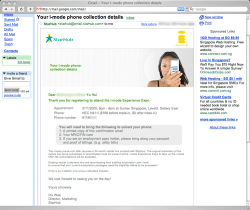 StarHub i-mode trial offer