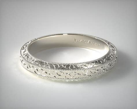 Hand Engraved James Allen Wedding Ring   14K White Gold