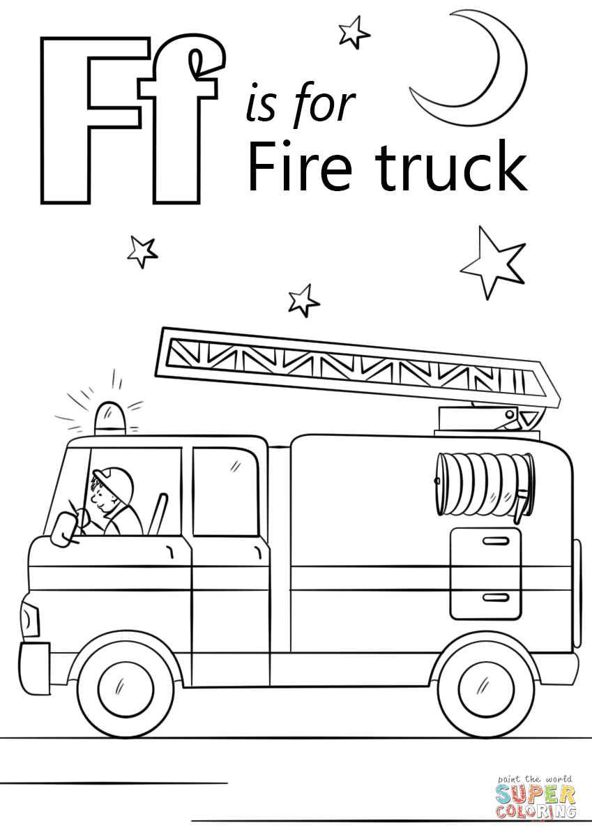Letter F is for Fire Truck coloring page  Free Printable Coloring Pages